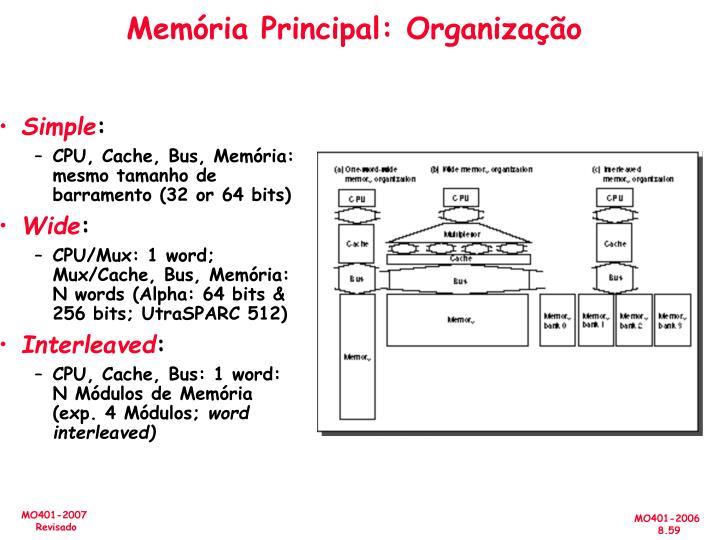 Memória Principal: Organização