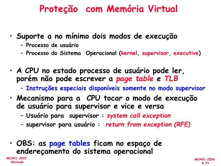 Proteção  com Memória Virtual