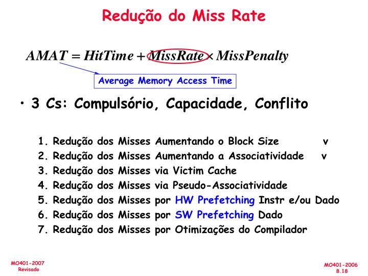 Redução do Miss Rate