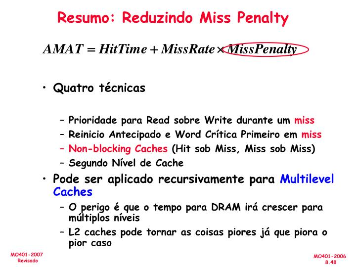 Resumo: Reduzindo Miss Penalty