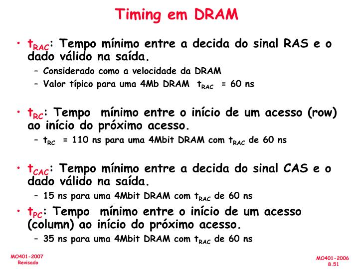 Timing em DRAM