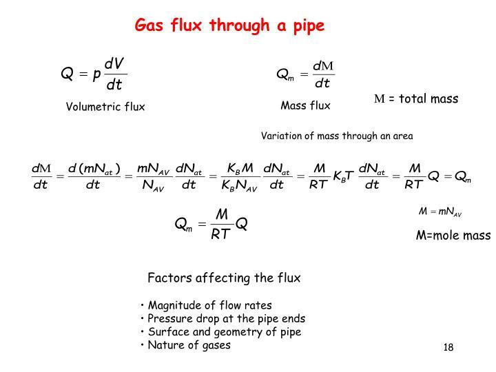 Gas flux through a pipe