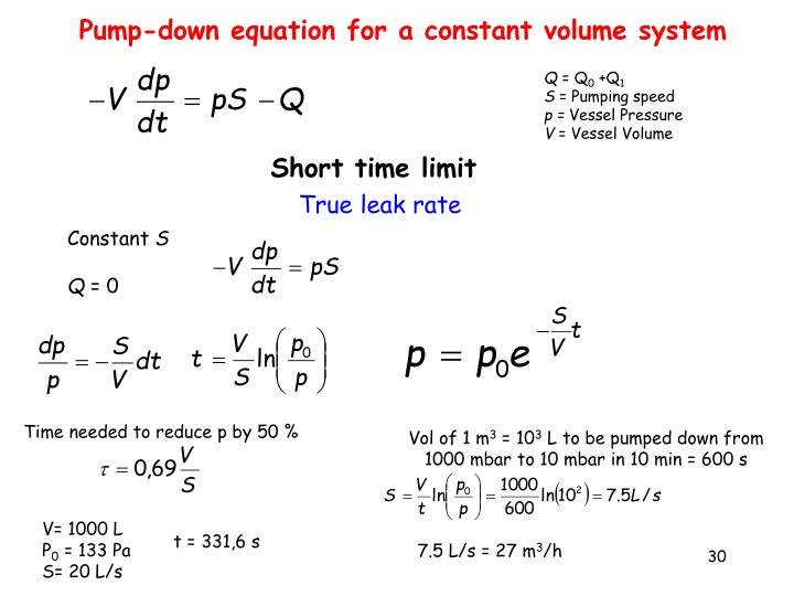 Pump-down equation for a constant volume system