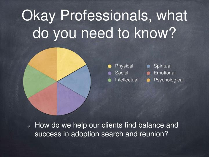 Okay Professionals, what do you need to know?