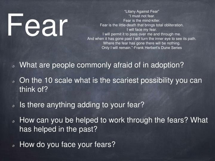 """Litany Against Fear"""