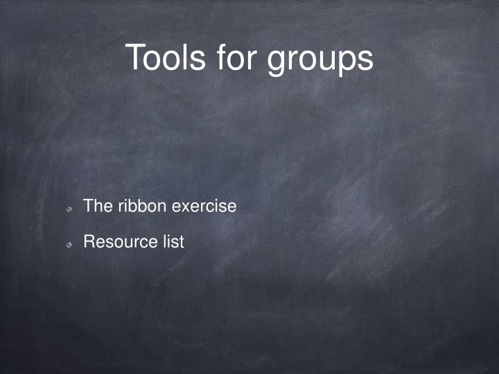 Tools for groups