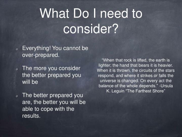 What Do I need to consider?