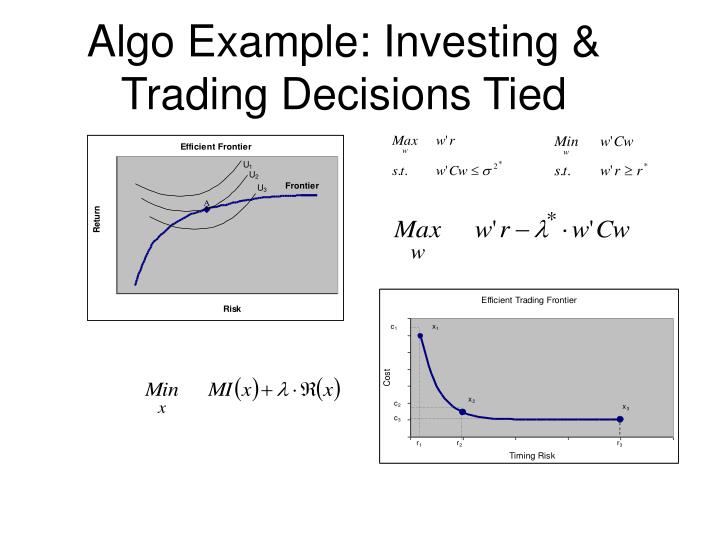 Algo Example: Investing & Trading Decisions Tied