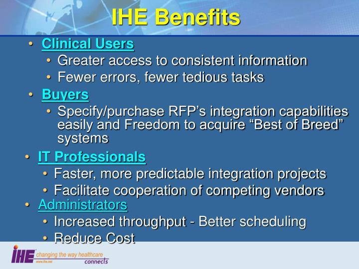 IHE Benefits