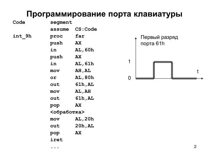 Программирование порта клавиатуры