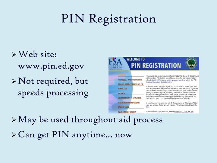 PIN Registration