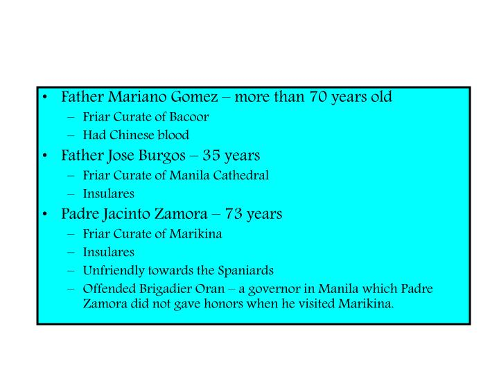 Father Mariano Gomez – more than 70 years old