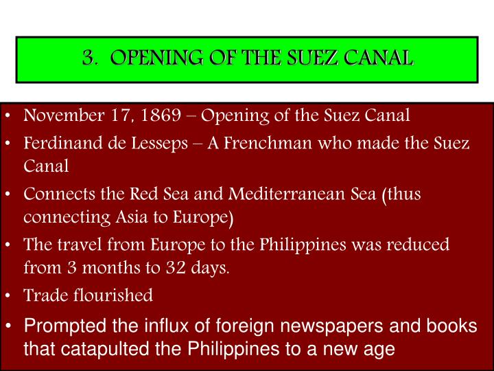3.  OPENING OF THE SUEZ CANAL
