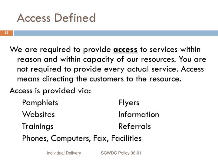 Access Defined