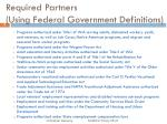 required partners using federal government definitions