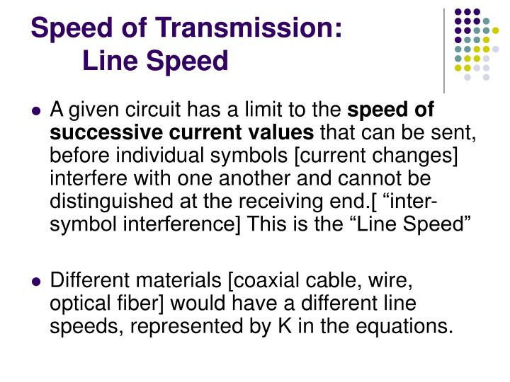 Speed of Transmission:
