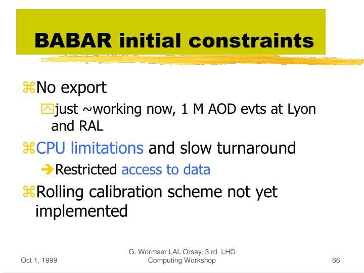 BABAR initial constraints