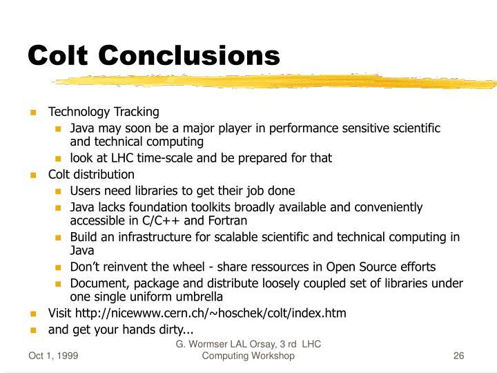 Colt Conclusions