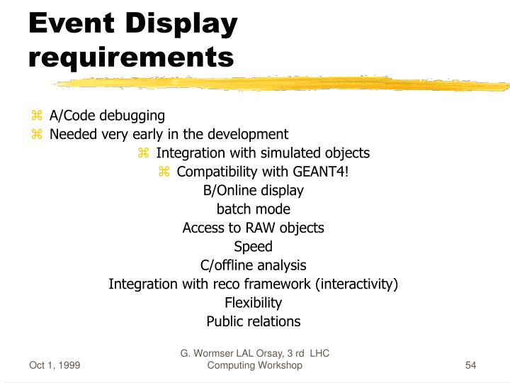 Event Display requirements