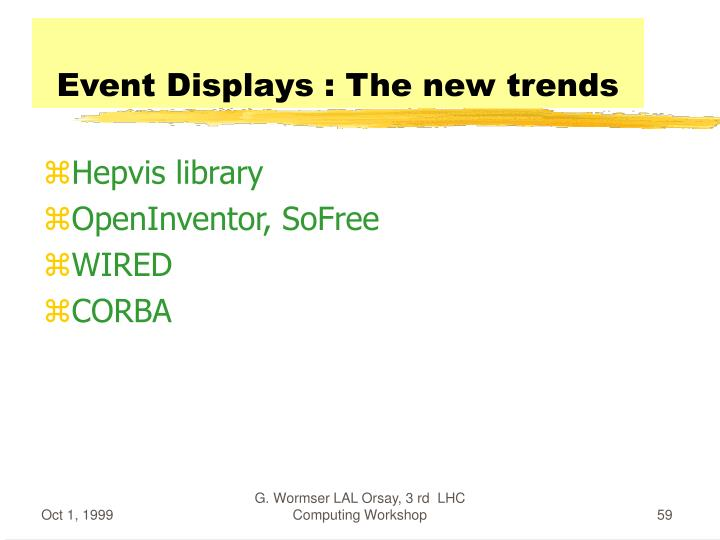 Event Displays : The new trends