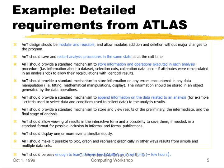 Example: Detailed requirements from ATLAS