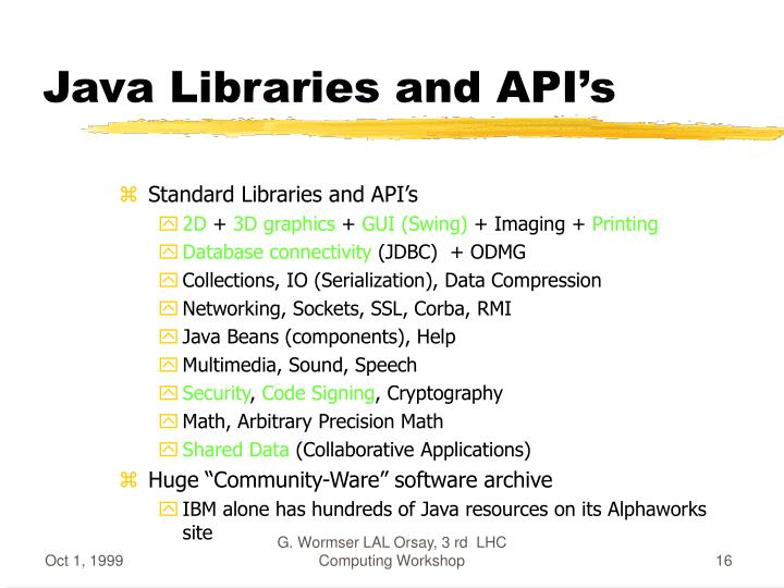 Java Libraries and API's