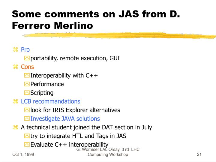 Some comments on JAS from D. Ferrero Merlino