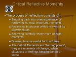critical reflective moments