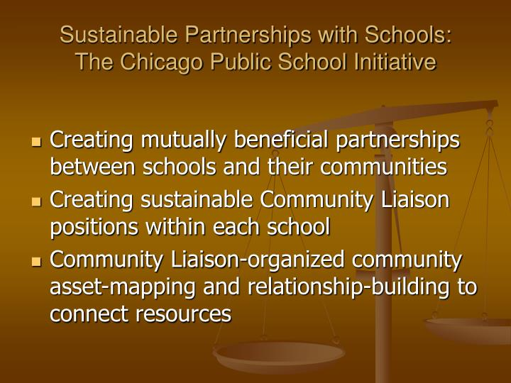 Sustainable Partnerships with Schools: