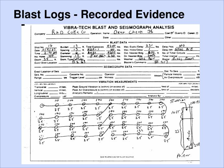 Blast Logs - Recorded Evidence