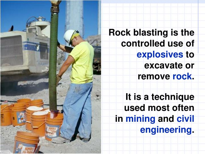 Rock blasting is the controlled use of