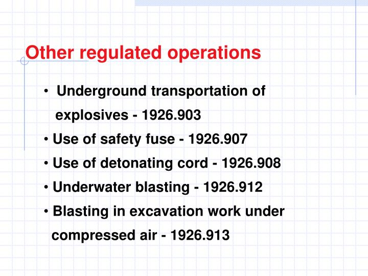 Other regulated operations