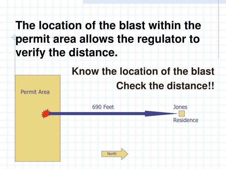 The location of the blast within the permit area allows the regulator to verify the distance.