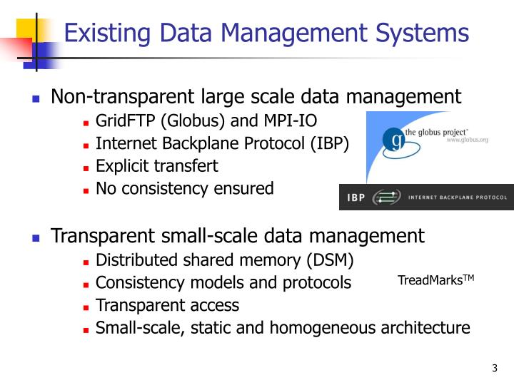 Existing data management systems