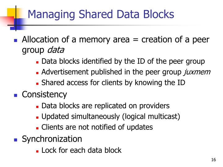 Managing Shared Data Blocks