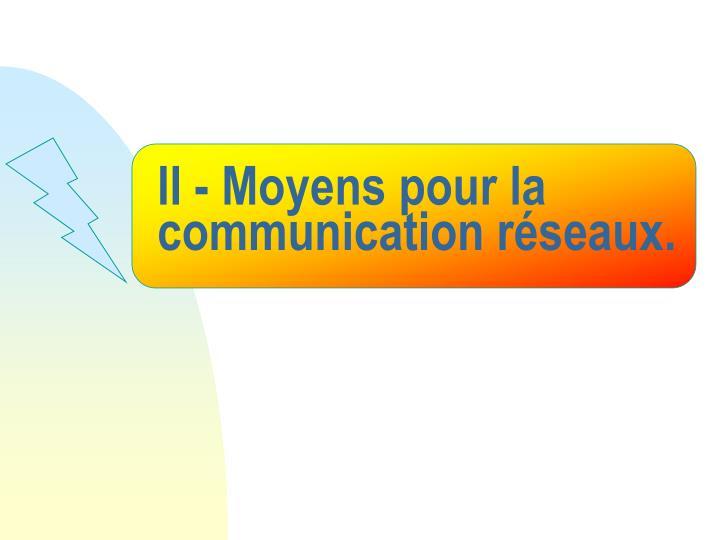 II - Moyens pour la communication réseaux.