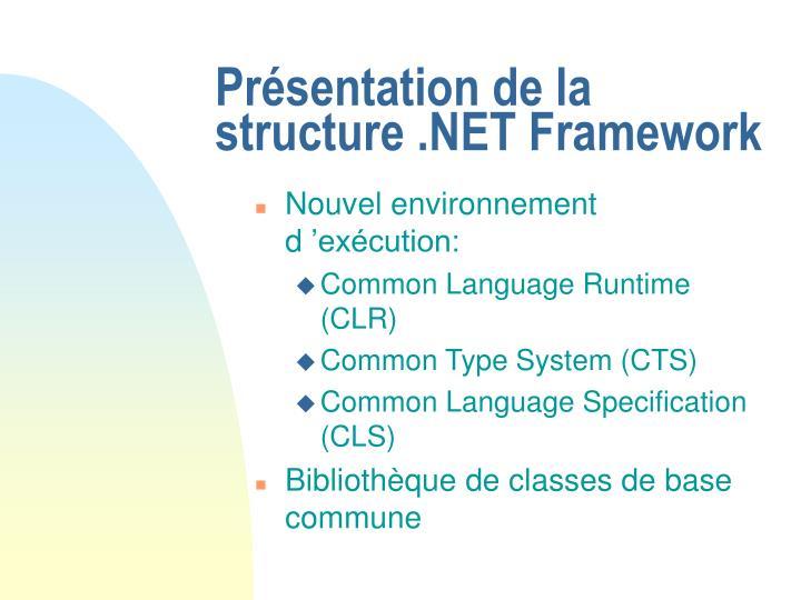 Présentation de la structure .NET Framework