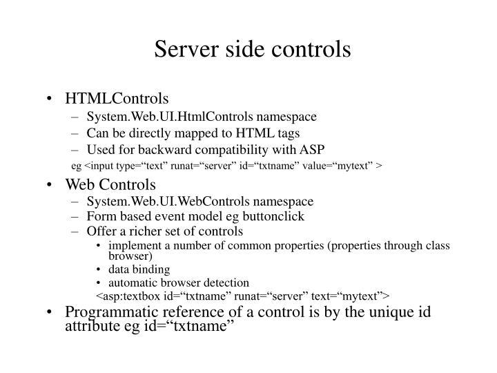 Server side controls