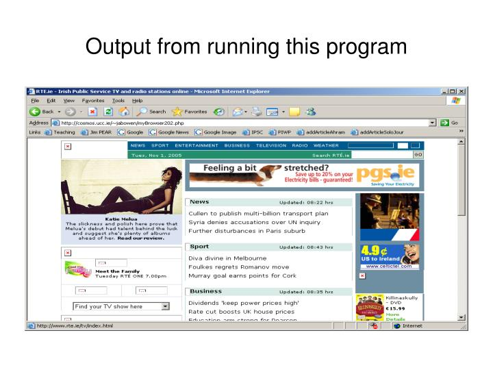 Output from running this program