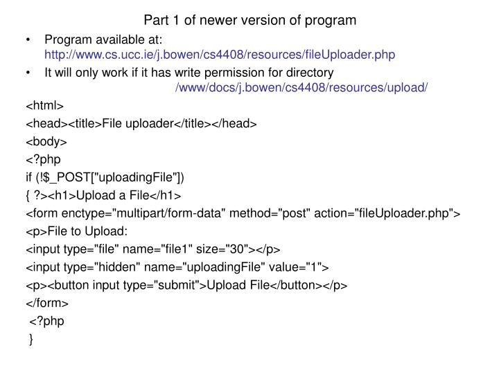 Part 1 of newer version of program