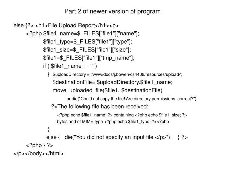 Part 2 of newer version of program
