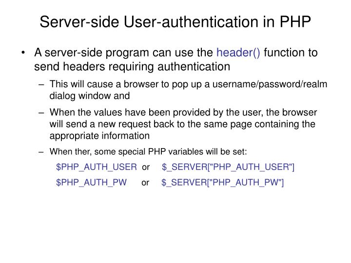Server-side User-authentication in PHP