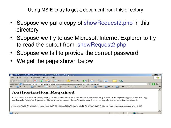 Using MSIE to try to get a document from this directory