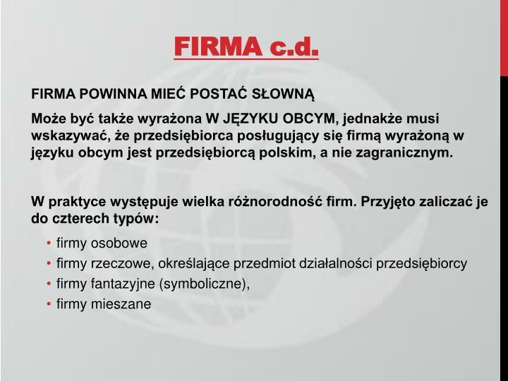FIRMA c.d.