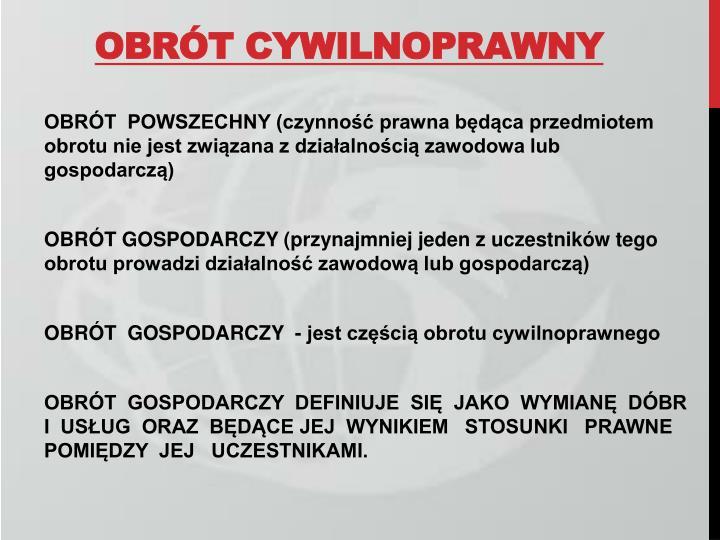 OBRÓT CYWILNOPRAWNY