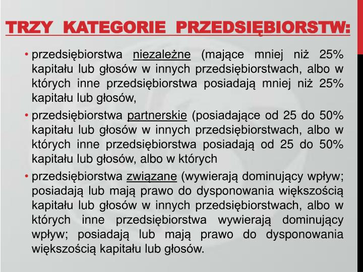 TRZY  KATEGORIE  PRZEDSIĘBIORSTW: