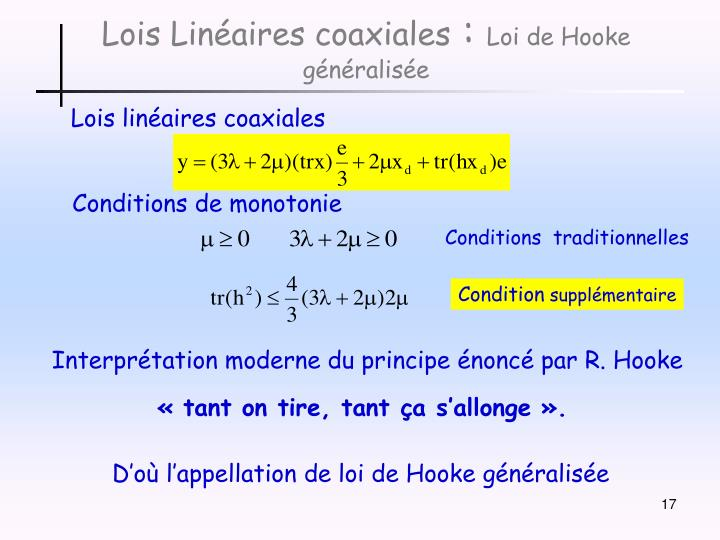 Lois Linéaires coaxiales