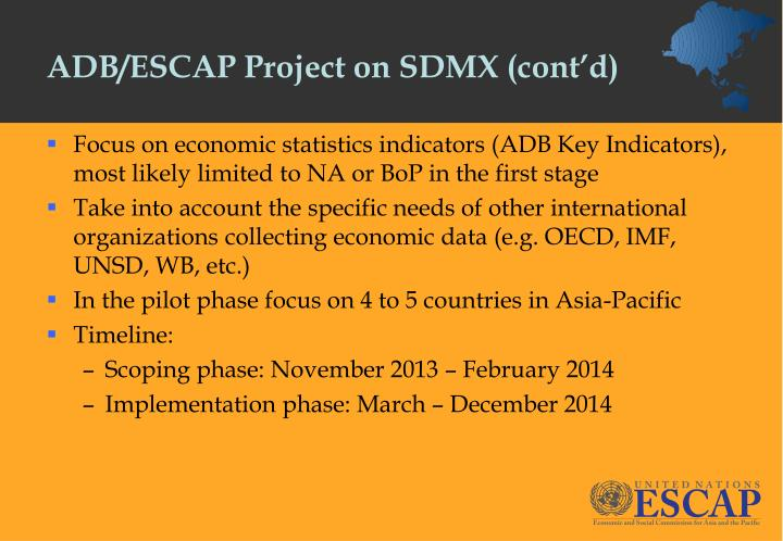 ADB/ESCAP Project on SDMX (cont'd)