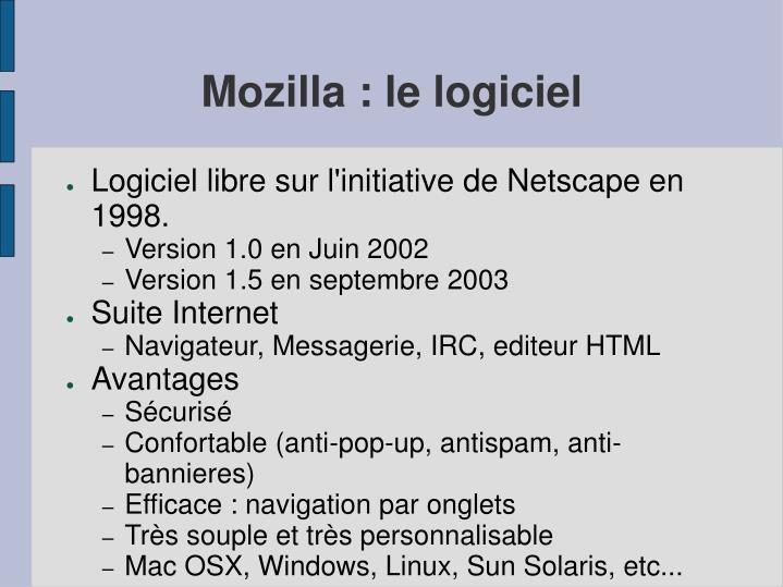 Mozilla : le logiciel