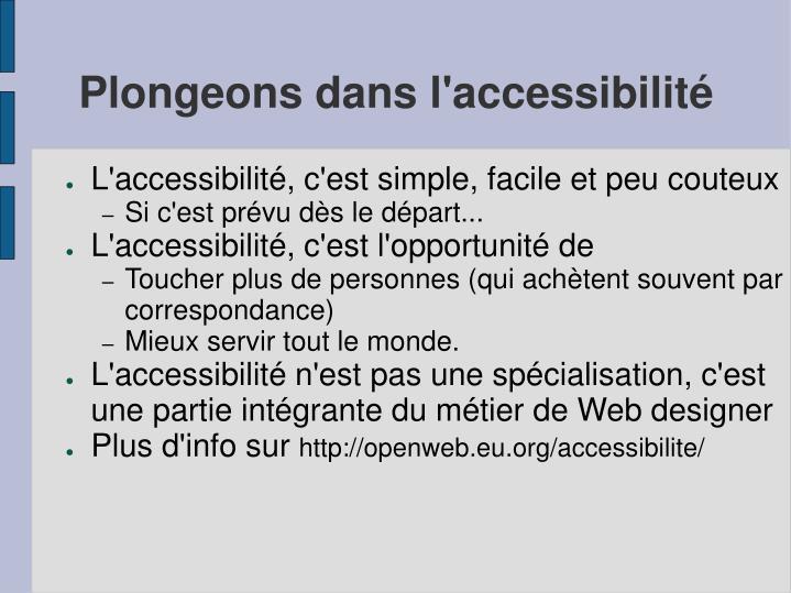 Plongeons dans l'accessibilité